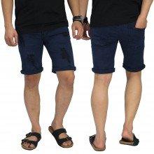 Celana Pendek Jeans 4 Ripped Navy