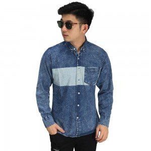 Kemeja Denim Middle Block Blue