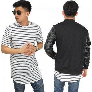 Longline T-Shirt Soft Stripe White