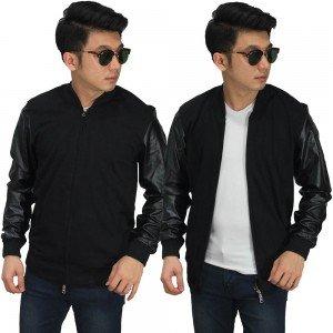 Jaket Bomber Sleeve Leather Black