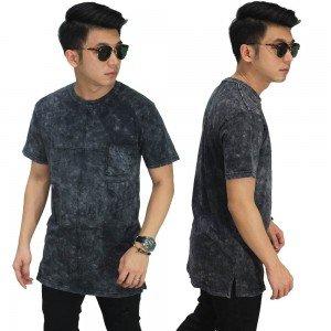 Longline T-Shirt Acid Washing Black