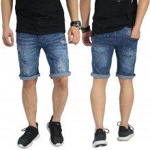 Celana Pendek Jeans 4 Ripped Dark Blue