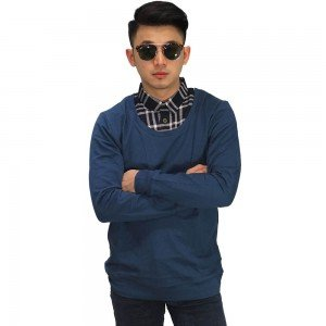 Sweater With Fake Shirt Navy