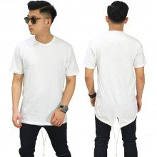 Longline T-Shirt Fishtail White
