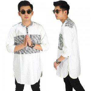 Baju Muslim Kurta Gamis 3/4 Kombinasi Motif Putih