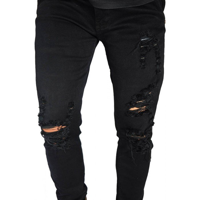 Jeans Ripped Distressed Left Side Black .