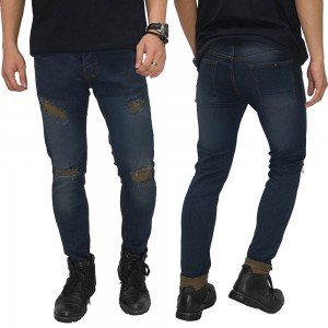Jeans Ripped Thigh And Knee Dark Indigo