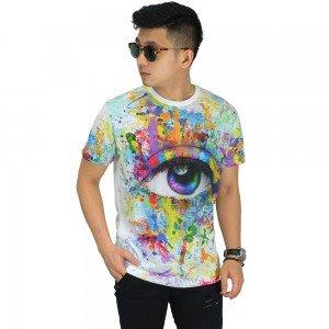Kaos Printing Colorful Eye Brush
