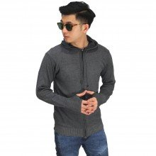 Knit Hoodie Fingerless Dark Grey