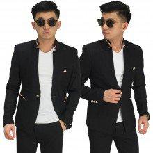 Blazer Casual Stand Collar Black