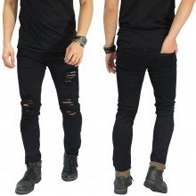 Jeans Ripped Extra Destroyed Black