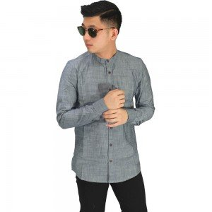 Kemeja Grandad Basic Oxford Dark Grey