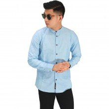 Kemeja Grandad Basic Oxford Soft Blue