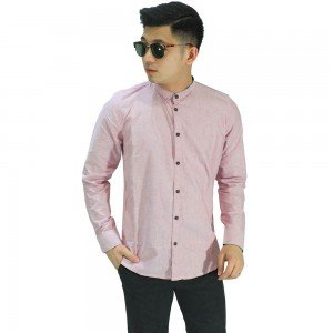 Kemeja Grandad Basic Oxford Soft Pink