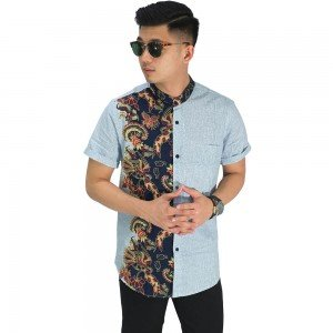 Kemeja Pendek Grandad Half Batik Combination Soft Blue