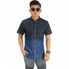 Kemeja Pendek Denim Gradation Dark Blue