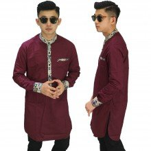 Baju Muslim Kurta Gamis List Batik Maroon
