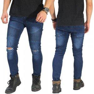 Biker Jeans Ripped On Knee Dark Blue
