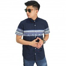 Kemeja Pendek Middle Block Tribal Dark Navy