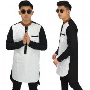 Baju Koko Kurta Gamis White Combination Black