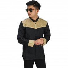 Baju Koko Panjang Combi Motif Black