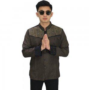 Baju Koko Panjang Combi Motif Dark Brown