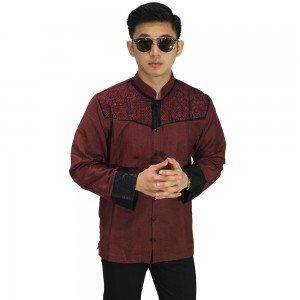 Baju Koko Panjang Combi Motif Maroon