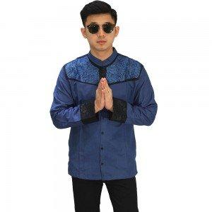 Baju Koko Panjang Combi Motif Navy