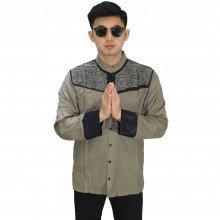 Baju Koko Panjang Combi Motif Soft Brown
