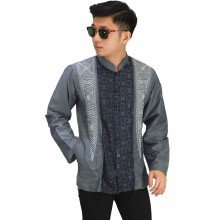 Baju Koko Panjang Elegan Bordir Dark Grey