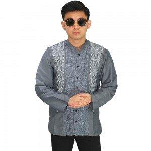 Baju Koko Panjang Elegan Bordir Soft Grey