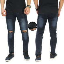 Jeans Knee Ripped Raw Frayed Hem Black Faded