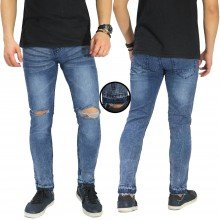 Jeans Knee Ripped Raw Frayed Hem Blue