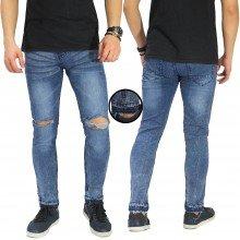 Jeans Knee Ripped Raw Frayed Hem Blue