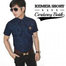 Kemeja Short Corduroy Batik Navy