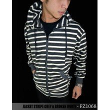 Jacket Stripe Grey n Broken White