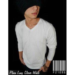 Kaos Polos Panjang V-Neck Putih
