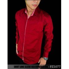 Kemeja Long Sleeve Red Combination