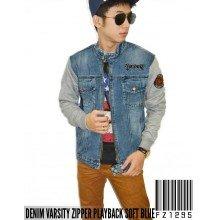 Denim Varsity Zipper Playback Jacket Soft Blue