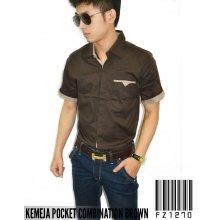 Kemeja Pocket Combination Brown