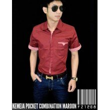 Kemeja Pocket Combination Maroon