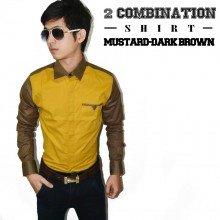 Two Combination Shirt Mustard n Dark Brown
