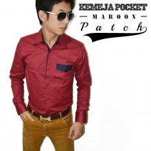 Kemeja Pocket Patch Maroon
