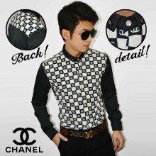 Kemeja Premium Chanel Pattern Black