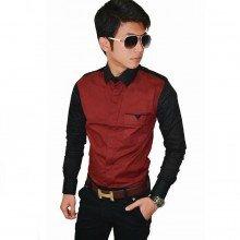 Two Combination Shirt Maroon n Black