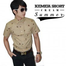 Kemeja Short Summer Cream