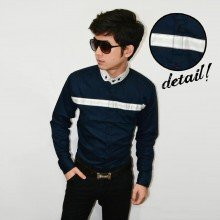 Kemeja Middle Line Stripe Dark Navy