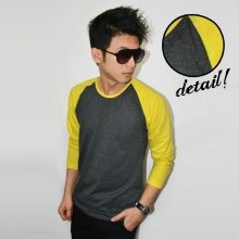 Raglan Tee Long Sleeve Dark Grey Yellow