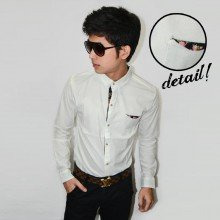 Kemeja Floral Style Patch White