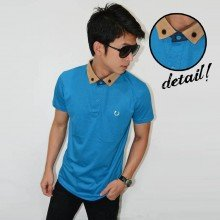 Polo Suede Neck Soft Blue
